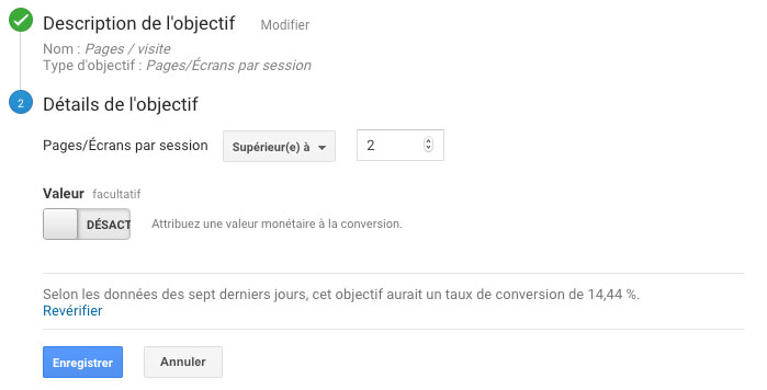 Pages par visite Objectif Google Analytics